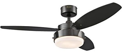 Westinghouse 42-Inch Gun Metal kitchen Ceiling Fan, Light Kit with Opal Frosted Glass