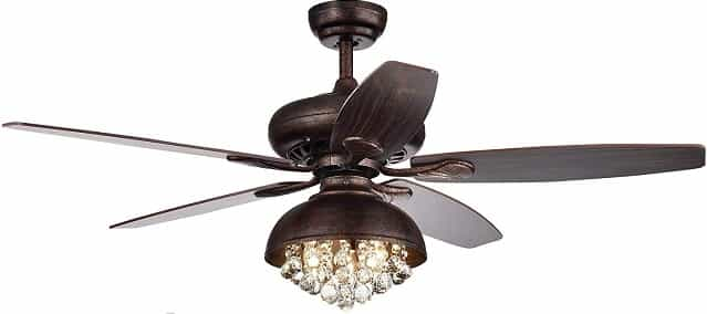 52-Inch Speckled Bronze Hooded Crystal Chandelier Ceiling Fan