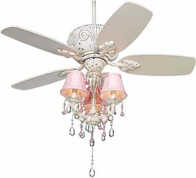 Casa Vieja 44 Casa Deville Pretty in Pink Pull Chain Ceiling Fan with Light