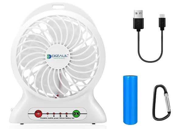 Dizaul Mini USB Rechargeable Fan